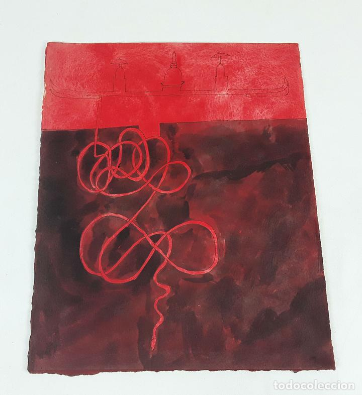 MONASTERIO ANCLÁNDOSE... TÉCNICA MIXTA SOBRE CARTULINA. A. GONZALO CARBÓ. 2004. (Arte - Pintura - Pintura al Óleo Contemporánea )
