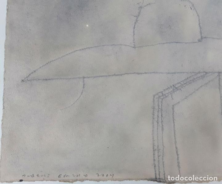 Arte: LLUVIA EN EL JARDÍN...TÉCNICA MIXTA SOBRE CARTULINA. A. GONZALO CARBÓ. 2004. - Foto 2 - 118254511