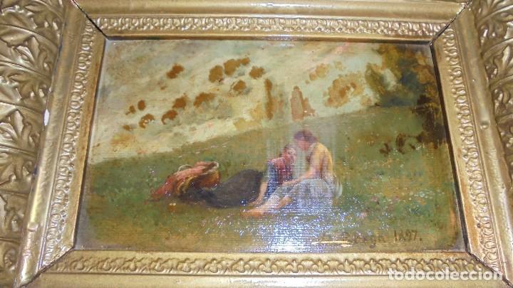(M) JOSEP BERGA I BOIX CONOCIDO COMO EL AVI BERGA - 1837/1914 - PAISAJE DE OLOT , PINTADO AL OLEO (Arte - Pintura - Pintura al Óleo Moderna siglo XIX)