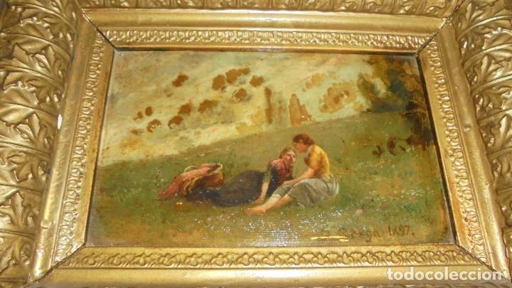 Arte: (M) JOSEP BERGA I BOIX CONOCIDO COMO EL AVI BERGA - 1837/1914 - PAISAJE DE OLOT , PINTADO AL OLEO - Foto 2 - 118279135