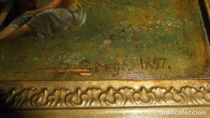 Arte: (M) JOSEP BERGA I BOIX CONOCIDO COMO EL AVI BERGA - 1837/1914 - PAISAJE DE OLOT , PINTADO AL OLEO - Foto 5 - 118279135