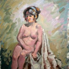 Arte: ESCUELA CATALANA DE APROXIMADAMENTE 1960. OLEO SOBRE TELA. DESNUDO FEMENINO. Lote 118309831