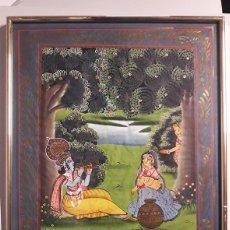 Arte: PINTURA INDIA SOBRE SEDA ENMARCADA CON CRISTAL. Lote 118359479