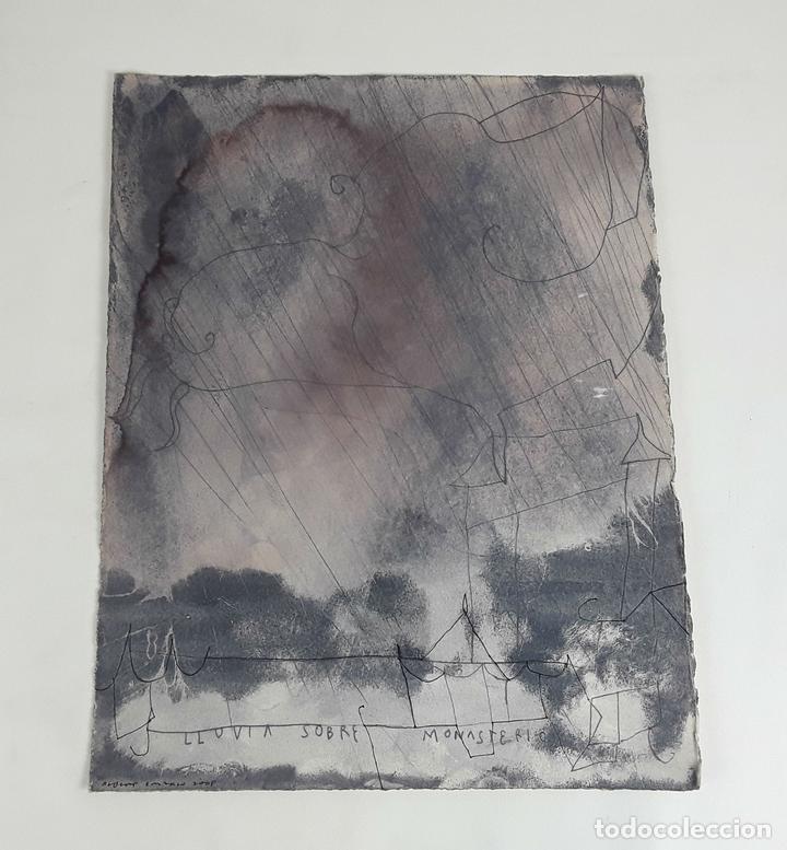 LLUVIA SOBRE MONASTERIO. TÉCNICA MIXTA SOBRE CARTULINA. A. GONZALO CARBÓ. 2005. (Arte - Pintura - Pintura al Óleo Contemporánea )
