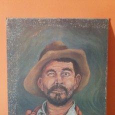 Arte: PINTURA RETRATO DE UN CAMPESINO O VAQUERO - OBRA FIRMADA. Lote 118381971