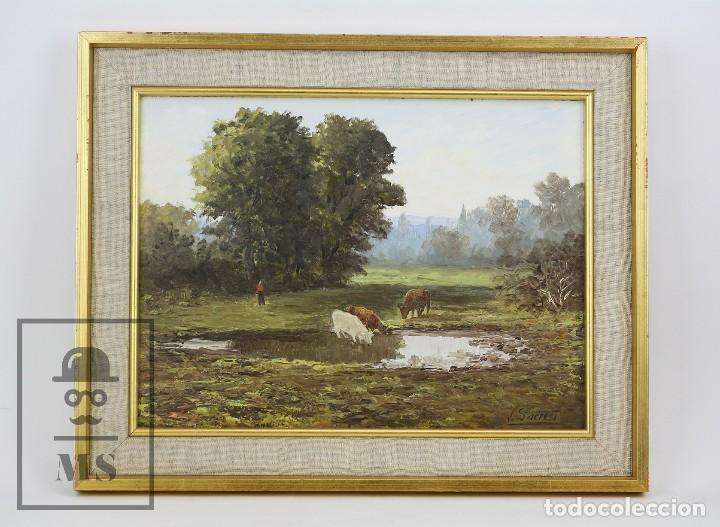 PINTURA AL ÓLEO SOBRE LIENZO - PAISAJE RURAL, FIRMADO J. SACREST - MEDIDAS 44,5 X 36 CM (Arte - Pintura - Pintura al Óleo Moderna siglo XIX)