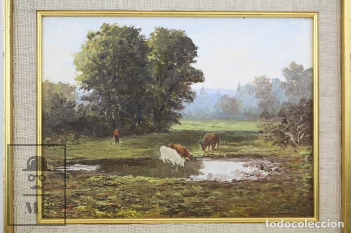 Arte: Pintura al Óleo Sobre Lienzo - Paisaje Rural, Firmado J. Sacrest - Medidas 44,5 x 36 cm - Foto 2 - 118455823
