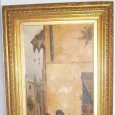 Arte: GUILLERMO GÓMEZ GIL MONUMENTAL ÓLEO (188 X 88 CM MARCO). MÁLAGA GALANTEO EN EL BARRIO DE LA TRINIDAD. Lote 118575571