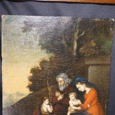 Arte: SAN JUANITO CON SAGRADA FAMILIA. ÓLEO SOBRE TABLA. SIGLO XVII-XVIII.. Lote 118578051