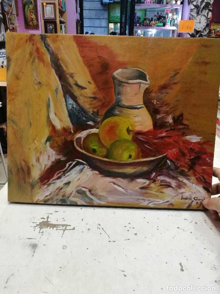 OLEO SOBRE LIENZO DE BODEGON DE MANZANAS FIRMADO ISABEL GARCIA 07 (Arte - Pintura - Pintura al Óleo Contemporánea )
