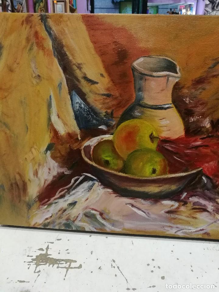Arte: Oleo sobre lienzo de bodegon de manzanas firmado isabel garcia 07 - Foto 2 - 118582411