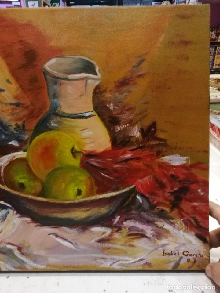 Arte: Oleo sobre lienzo de bodegon de manzanas firmado isabel garcia 07 - Foto 3 - 118582411