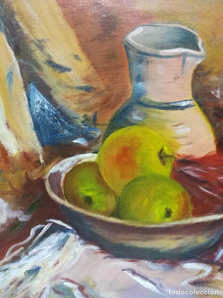 Arte: Oleo sobre lienzo de bodegon de manzanas firmado isabel garcia 07 - Foto 6 - 118582411