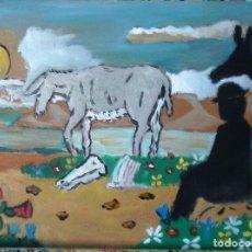 Arte: PLATERO, EL BURRO VIEJO, ÓLEO SOBRE MADERA DE 30X40 CM. AUTOR CRESPO. Lote 118606891