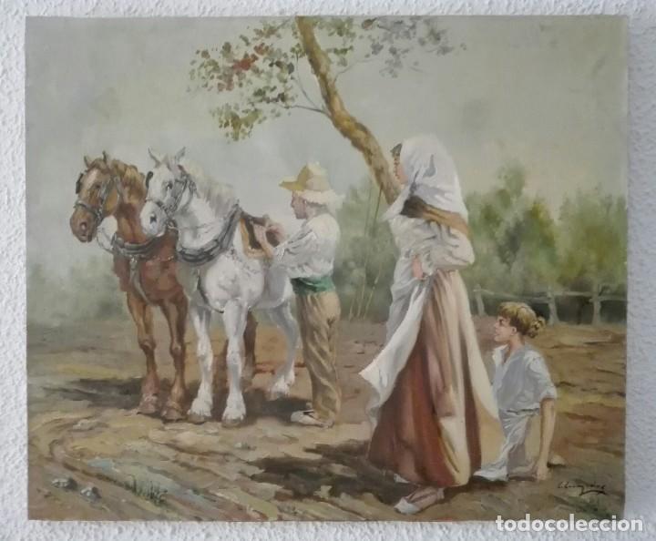OLEO PAISAJE ESCENA COSTUMBRISTA FIGURATIVA VALENCIANA (Arte - Pintura - Pintura al Óleo Moderna sin fecha definida)