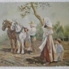 Arte: OLEO PAISAJE ESCENA COSTUMBRISTA FIGURATIVA VALENCIANA. Lote 118619643