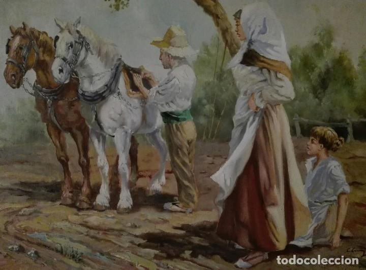 Arte: OLEO PAISAJE ESCENA COSTUMBRISTA FIGURATIVA VALENCIANA - Foto 5 - 118619643