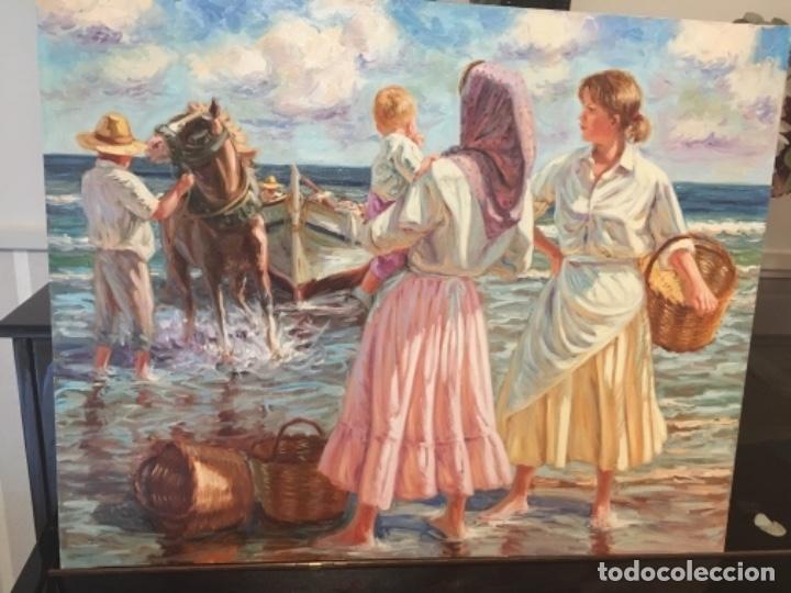 """PRECIOSO ÓLEO """"SACANDO LA BARCA"""" DE JOSÉ LLULL 1999.SU MEJOR ÉPOCA DIMENSIONES TELA 95-75 (Arte - Pintura - Pintura al Óleo Contemporánea )"""