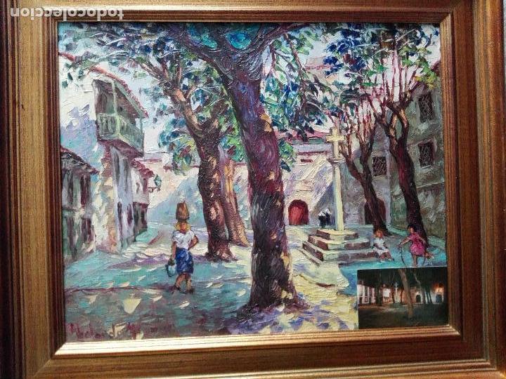 CUADRO AL ÓLEO CON MARCO-PLAZA DE LAS BÁRBARAS-ABELARDO MIGUEL LOPEZ LEIRA-PONTEDEUME 1918/1991-V/F. (Arte - Pintura - Pintura al Óleo Contemporánea )