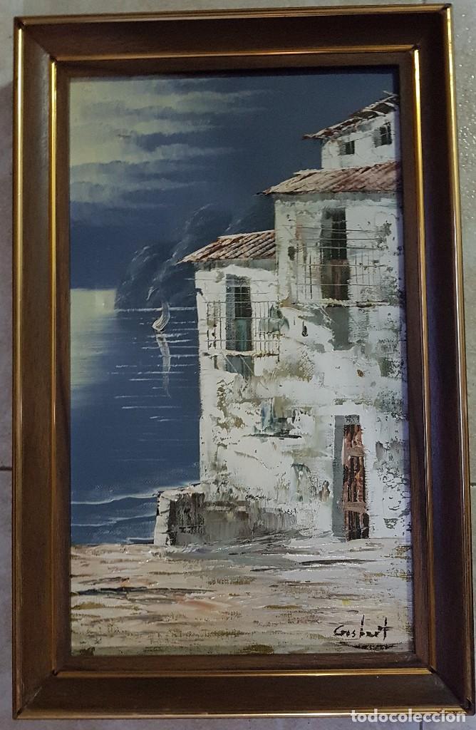 == C04 - BONITO PAISAJE OLEO SOBRE LIENZO - PAISAJE DE IBIZA - FIRMADO - 41 X 24 SIN CONTAR EL MARCO (Arte - Pintura - Pintura al Óleo Moderna sin fecha definida)