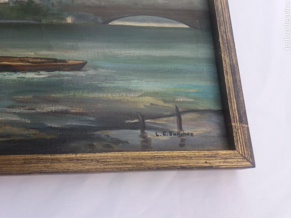 Arte: Bonito cuadro pintura a mano sobre tela firmado Sanchez .paysage rio iglesia venecia o Praga?? - Foto 4 - 118748326