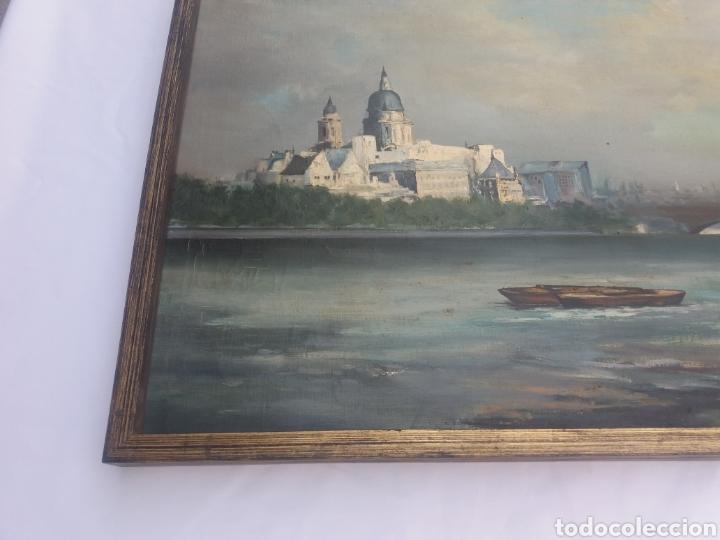 Arte: Bonito cuadro pintura a mano sobre tela firmado Sanchez .paysage rio iglesia venecia o Praga?? - Foto 6 - 118748326
