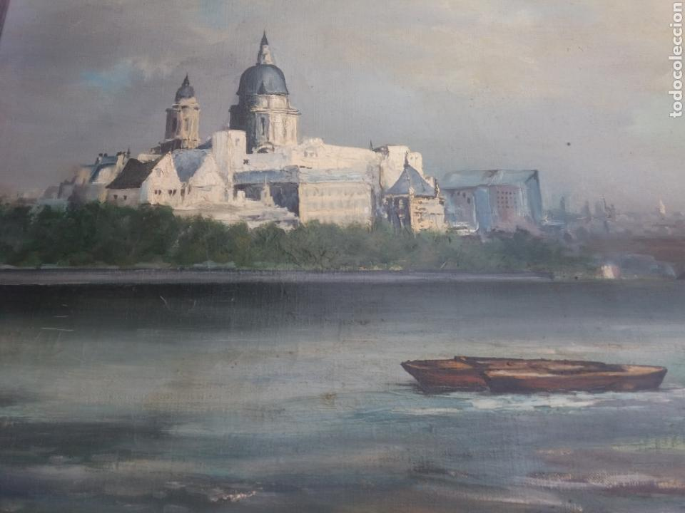 Arte: Bonito cuadro pintura a mano sobre tela firmado Sanchez .paysage rio iglesia venecia o Praga?? - Foto 3 - 118748326