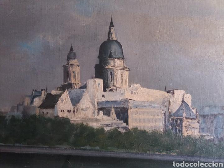 Arte: Bonito cuadro pintura a mano sobre tela firmado Sanchez .paysage rio iglesia venecia o Praga?? - Foto 2 - 118748326