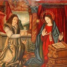 Arte: IMPORTANTE RETABLO PINTADO SOBRE TABLA DEL SIGLO XVI. LA ANUNCIACION. Lote 118802707