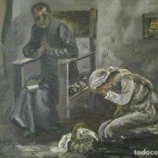 Arte: OLEO COSTUMBRISMO FIGURATIVO LA CONFESION ALONSO BARGUES.. Lote 118808619