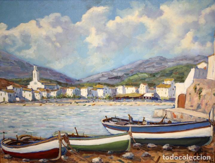 ANTONI TRULLS PONS (MANRESA, 1925 - 2008) OLEO SOBRE TELA. VISTA DE PORT DE LA SELVA (GIRONA) (Arte - Pintura - Pintura al Óleo Contemporánea )
