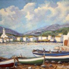 Arte: ANTONI TRULLS PONS (MANRESA, 1925 - 2008) OLEO SOBRE TELA. VISTA DE PORT DE LA SELVA (GIRONA). Lote 118869859