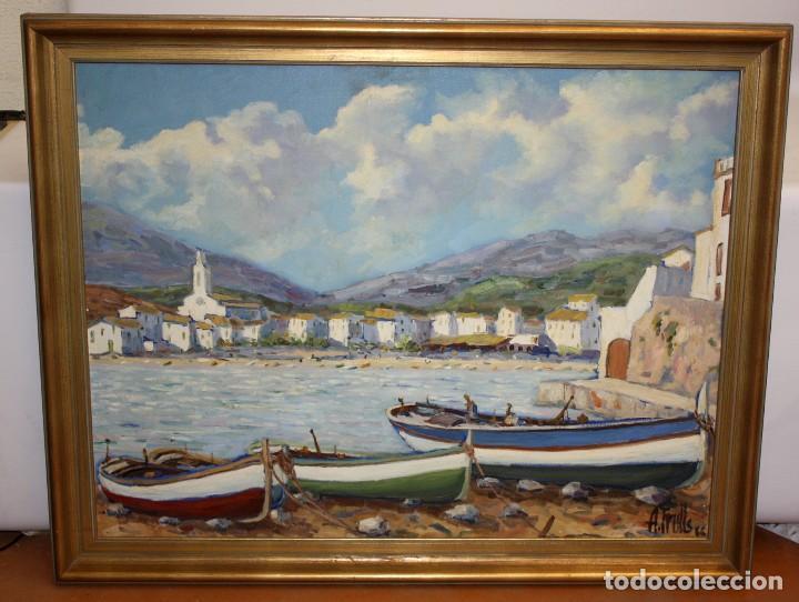 Arte: ANTONI TRULLS PONS (Manresa, 1925 - 2008) OLEO SOBRE TELA. VISTA DE PORT DE LA SELVA (GIRONA) - Foto 2 - 118869859