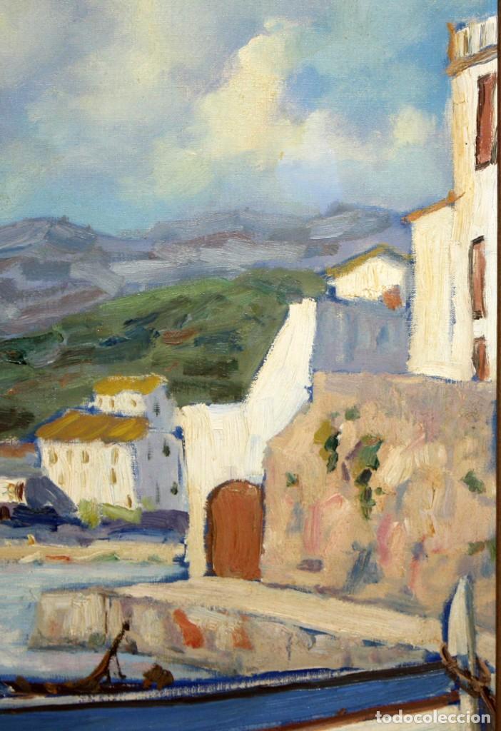 Arte: ANTONI TRULLS PONS (Manresa, 1925 - 2008) OLEO SOBRE TELA. VISTA DE PORT DE LA SELVA (GIRONA) - Foto 4 - 118869859