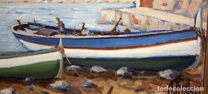 Arte: ANTONI TRULLS PONS (Manresa, 1925 - 2008) OLEO SOBRE TELA. VISTA DE PORT DE LA SELVA (GIRONA) - Foto 6 - 118869859