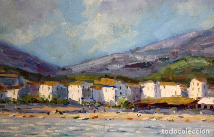 Arte: ANTONI TRULLS PONS (Manresa, 1925 - 2008) OLEO SOBRE TELA. VISTA DE PORT DE LA SELVA (GIRONA) - Foto 7 - 118869859