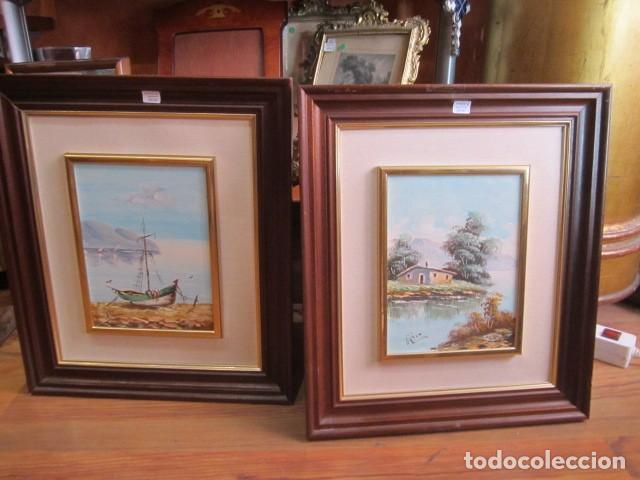 pareja de óleos sobre tablex, enmarcados. 17,5 - Comprar Pintura al ...