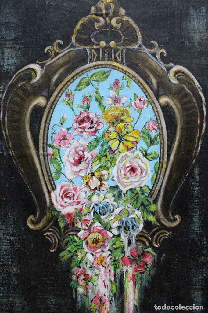 Arte: /Somete el oído al silencio de las flores/ Pintura sobre Partituras de música antiguas y lino. - Foto 6 - 118898363