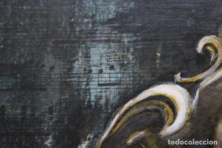 Arte: /Somete el oído al silencio de las flores/ Pintura sobre Partituras de música antiguas y lino. - Foto 9 - 118898363
