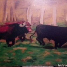 Arte: TOROS BRAVOS, 81/60, OLEO SOBRE LIENZO, FIRMADO. Lote 119041443