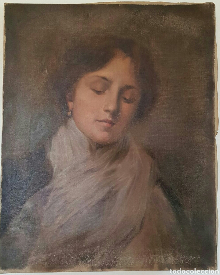 OLEO IMPRESIONISTA RETRATO DAMA FINALES S.XIX / PP. S.XX (Arte - Pintura - Pintura al Óleo Moderna siglo XIX)