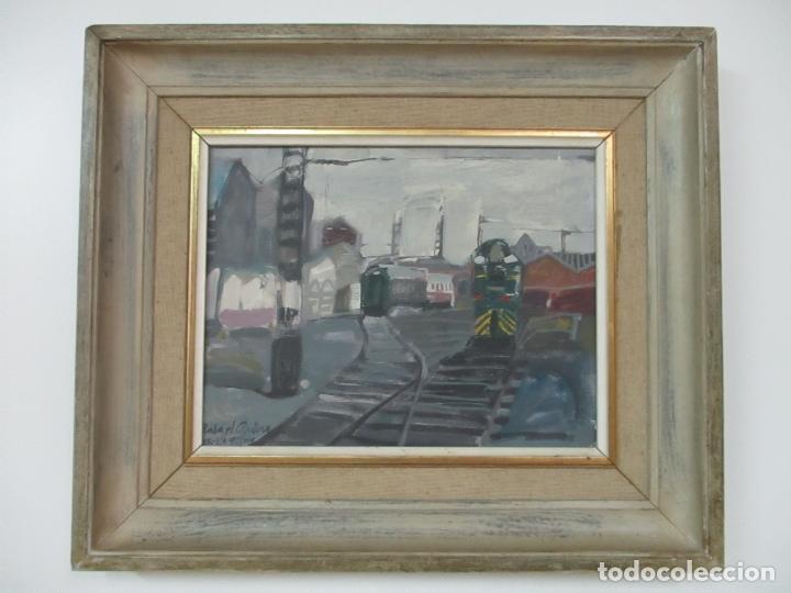 ÓLEO SOBRE TELA - ESTACIÓN DE GIJÓN - RAFAEL GRIERA CALDERÓN (1939) (Arte - Pintura - Pintura al Óleo Moderna sin fecha definida)