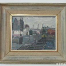 Arte: ÓLEO SOBRE TELA - ESTACIÓN DE GIJÓN - RAFAEL GRIERA CALDERÓN (1939). Lote 119060539