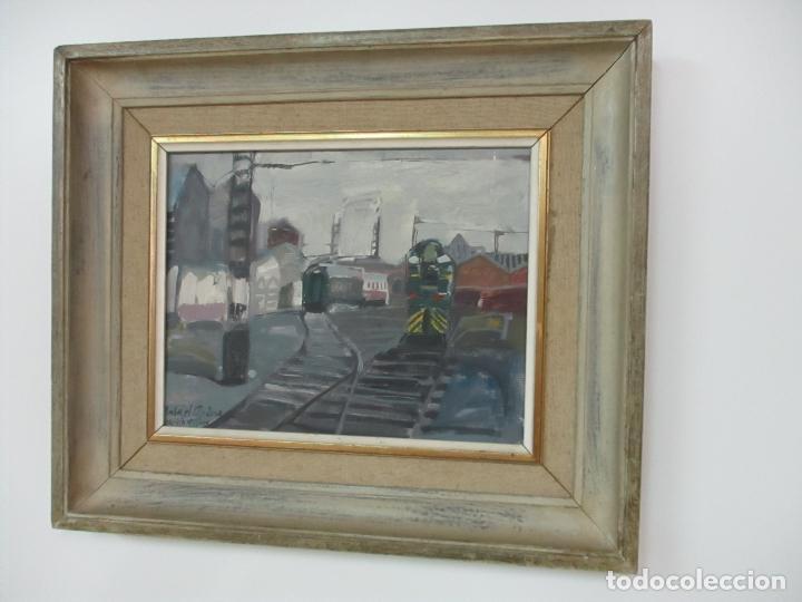 Arte: Óleo sobre Tela - Estación de Gijón - Rafael Griera Calderón (1939) - Foto 2 - 119060539