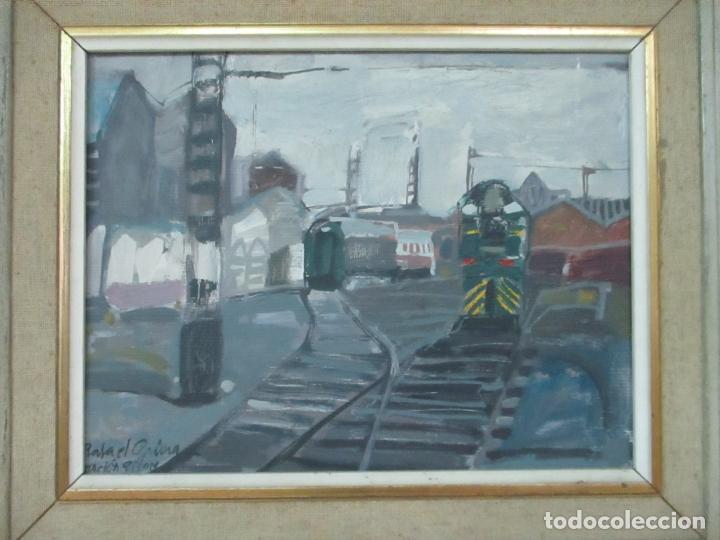 Arte: Óleo sobre Tela - Estación de Gijón - Rafael Griera Calderón (1939) - Foto 3 - 119060539