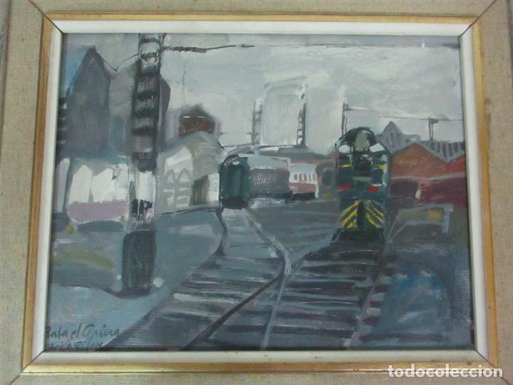 Arte: Óleo sobre Tela - Estación de Gijón - Rafael Griera Calderón (1939) - Foto 5 - 119060539