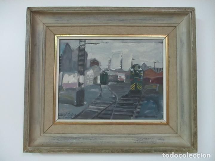 Arte: Óleo sobre Tela - Estación de Gijón - Rafael Griera Calderón (1939) - Foto 10 - 119060539
