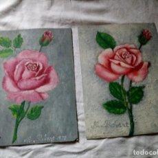 Arte: LOTE DE 2 OLEOS PINTADO POR M. ROBERT 1979,OLEO PINTADO EN CARTÓN.. Lote 119077507