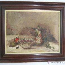 Arte: 86 CM - BODEGON IMPRESIONISTA FIRMADO PINTURA AL OLEO CON IMPORTANTE MARCO. Lote 119123919