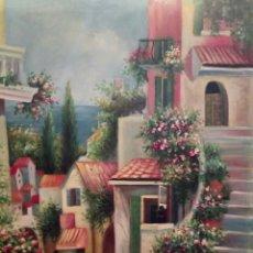 Arte: PRECIOSO PUEBLO COSTERO, 60/50,OLEO SOBRE LIENZO. Lote 119128371